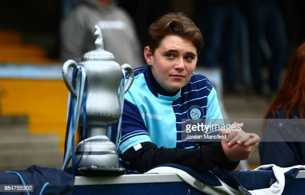A fan looks on with a homemade trophy prior to The Emirates FA Cup Second Round between Wycombe Wanderers and Leatherhead at Adams Park on December 3...