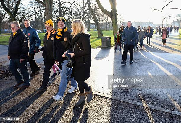 Fan make their way to the stadium prior to the Barclays Premier League match between Hull City and Leicester City at KC Stadium on December 28 2014...