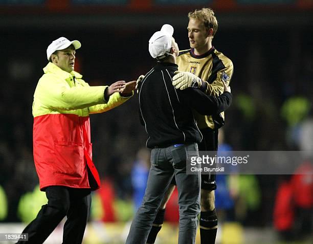 Fan makes his feelings known to Peter Enckelman of Aston Villa during the FA Barclaycard Premiership match between Aston Villa and Birmingham City...