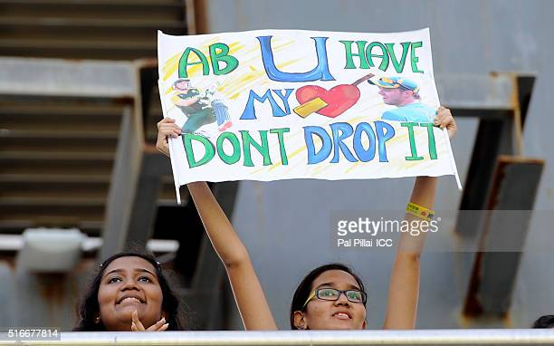 A fan of AB de Villiers of South Africa hold a playcard during the ICC World Twenty20 India 2016 match between South Africa and Afghanistan at the...