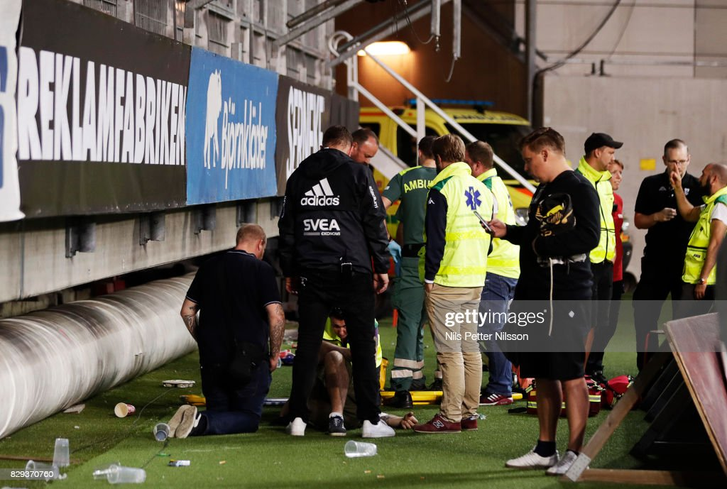 A fan of AIK fell off the stands during the Allsvenskan match between IFK Goteborg and AIK at Gamla Ullevi on August 10, 2017 in Gothenburg, Sweden.
