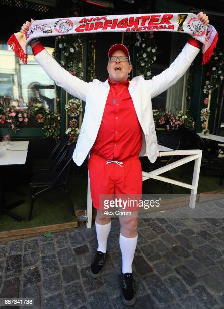 A fan of Ajax Amsterdam poses on the day before the UEFA Europa League Final between Ajax Amsterdam and Manchester United on May 23 2017 in Stockholm...
