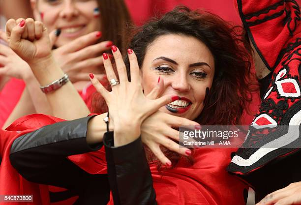 A fan of Albania during the UEFA EURO 2016 Group A match between France and Albania at Stade Velodrome on June 15 2016 in Marseille France