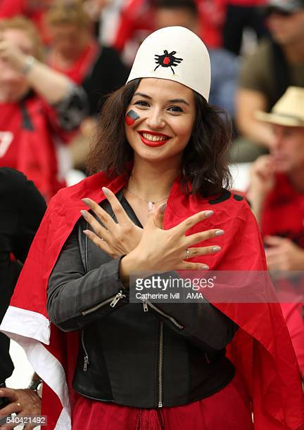 A fan of Albania shows her support before the UEFA EURO 2016 Group A match between France and Albania at Stade Velodrome on June 15 2016 in Marseille...