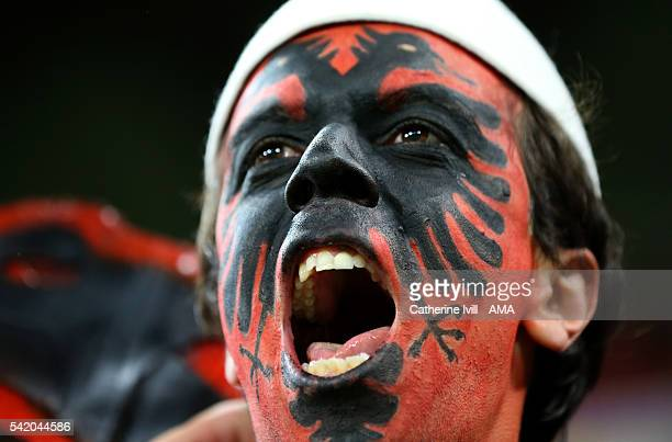 A fan of Albania with a painted face during the UEFA EURO 2016 Group A match between Romania and Albania at Stade des Lumieres on June 19 2016 in...