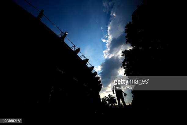 A fan of America is seen next to the stadium prior to the 7th round match between America and Pumas UNAM as part of the Torneo Apertura 2018 Liga MX...