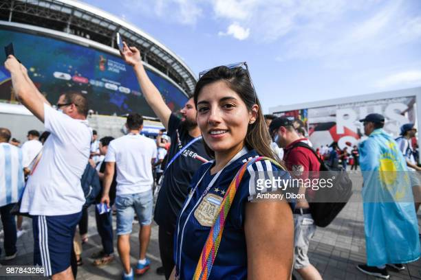 Fan of Argentina during the FIFA World Cup Round of 16 match between France and Argentina at Kazan Arena on June 30 2018 in Kazan Russia
