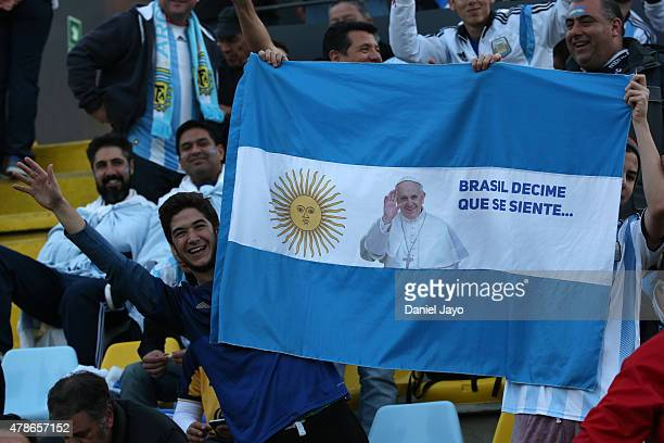 A fan of Argentina enjoys the atmosphere prior the 2015 Copa America Chile quarter final match between Argentina and Colombia at Sausalito Stadium on...