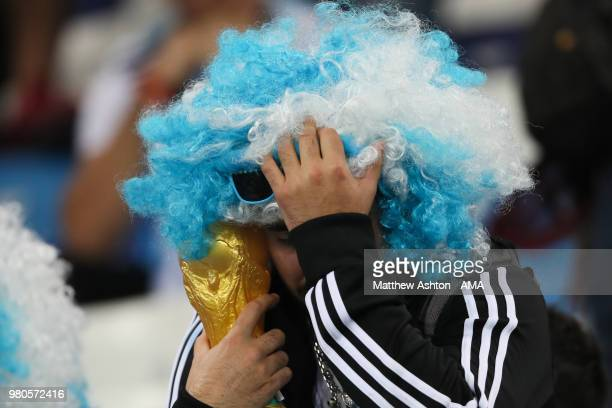 A fan of Argentina looks dejected at the end of the 2018 FIFA World Cup Russia group D match between Argentina and Croatia at Nizhny Novgorod Stadium...