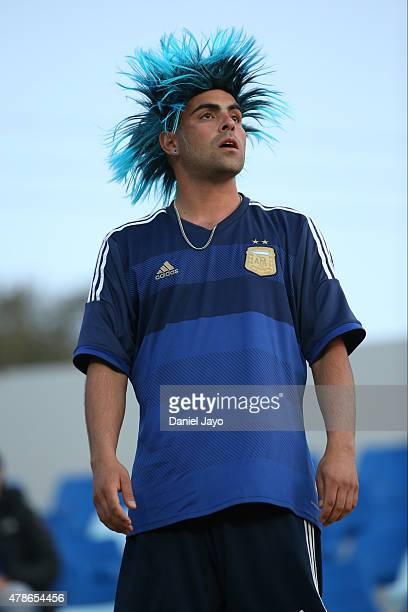 Fan of Argentina looks on prior the 2015 Copa America Chile quarter final match between Argentina and Colombia at Sausalito Stadium on June 26, 2015...