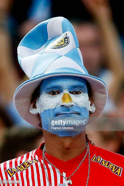 A fan of Argentina looks on prior the match between Chile and Argentina as part of FIFA 2018 World Cup Qualifier at Nacional Julio Martinez Pradanos...
