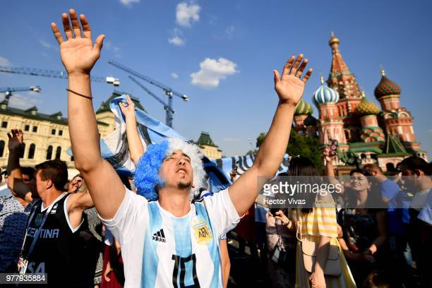 Fan of Argentina sings at Moscow Red Square on June 18 2018 in Moscow Russia