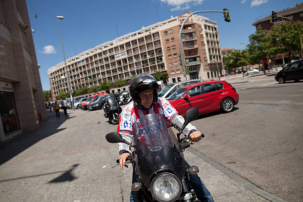 Atletico de Madrid fan and former Atletico player Agustin Vara begins his 600-kilometer motorcycle trip to Lisbon one day before UEFA ...