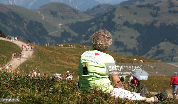 Fan of Austrian singer Hansi Hinterseer relaxes after the annual Hansi Hinterseer fan hiking tour on August 25, 2011 in Kitzbuehel, Austria. Some...