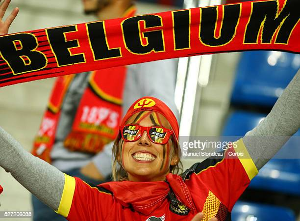 A fan of Belgium cheers on her team ahead o the UEFA European Championship 2016 qualifying Group B football match between Andorra and Belgium on...