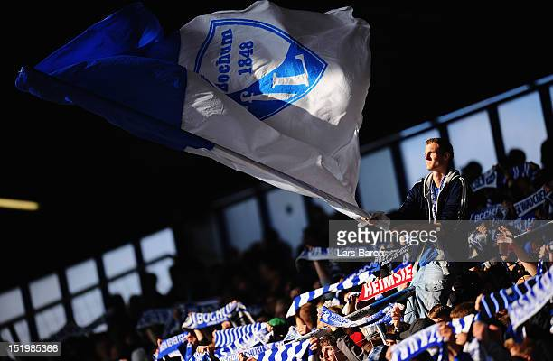 A fan of Bochum is seen during the Second Bundesliga match betweeen VfL Bochum and 1860 Muenchen at Rewirpower Stadium on September 14 2012 in Bochum...