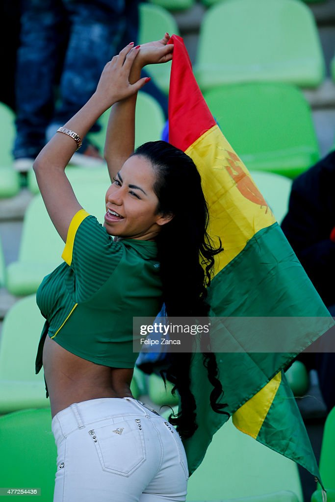 A fan of Bolivia enjoys the atmosphere prior the 2015 Copa America Chile Group A match between Ecuador and Bolivia at Elias Figueroa Bander Stadium on June 15, 2015 in Valparaiso, Chile.