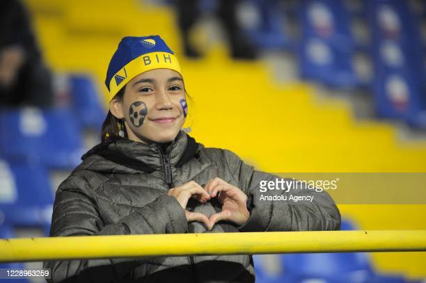 Fan of Bosnia and Herzegovina is seen during EURO 2020 Qualifiers play-off round semi-final match between Bosnia-Herzegovina and Northern Ireland at...