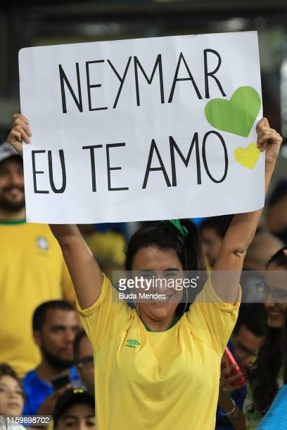 A fan of Brazil shows a sing for Neymar Jr the Copa America Brazil 2019 Semi Final match between Brazil and Argentina at Mineirao Stadium on July 02...
