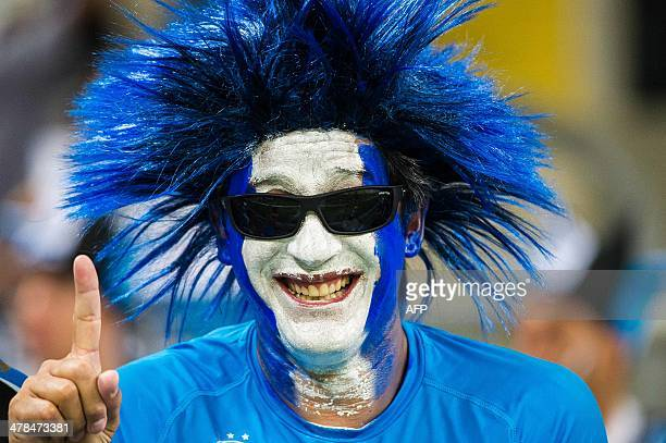 A fan of Brazilian team Gremio gestures before the start of the Libertadores Cup match between Gremio and Argentina's Newell's Old Boys at the Arena...