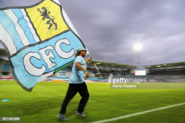 Fan of Chemnitz called Gerdl with a flag of CFC during the 3Liga match between Chemnitzer FC and SC Fortuna Koeln at Community4you Arena on September...