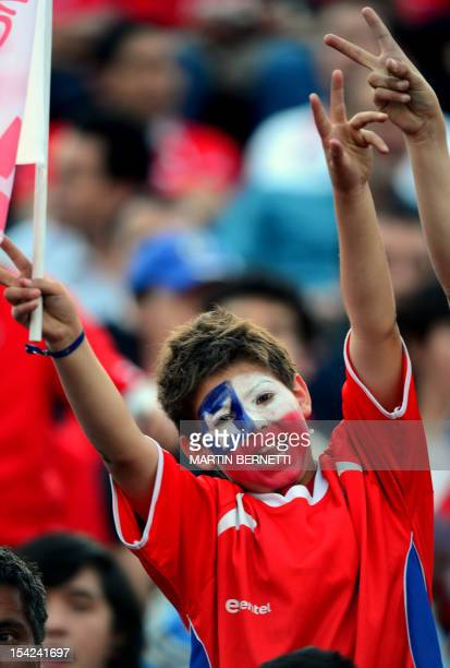 A fan of Chile cheers before the start of the match against Argentina for the Brazil 2014 FIFA World Cup South American qualifier at the Nacional...