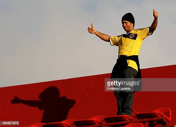 A fan of Colombia cheers for their team during the International Friendly match between Colombia and Senegal at Pedro Bidegain Stadium on May 31 2014...
