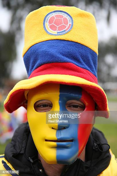 A fan of Colombia enjoys the atmosphere prior the 2015 Copa America Chile Group C match between Colombia and Peru at Municipal Bicentenario Germán...