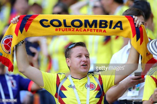 A fan of Colombia enjoys the pre match atmosphere ahead of the 2018 FIFA World Cup Russia group H match between Colombia and Japan at Mordovia Arena...