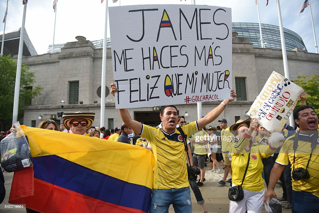 A fan of Colombia holds a banner that reads in spanish 'James you make me happier than my woman' before a Semifinal match between Colombia and Chile at Soldier Field as part of Copa America Centenario US 2016 on June 22, 2016 in Chicago, Illinois, US.