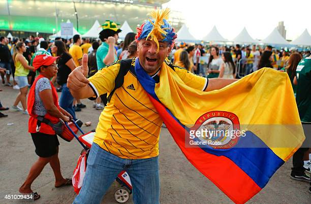 Fan of Colombia National soccer team poses for a photo prior the match between Nigeria and BosniaHerzegovina during the FIFA World Cup Brazil 2014 at...