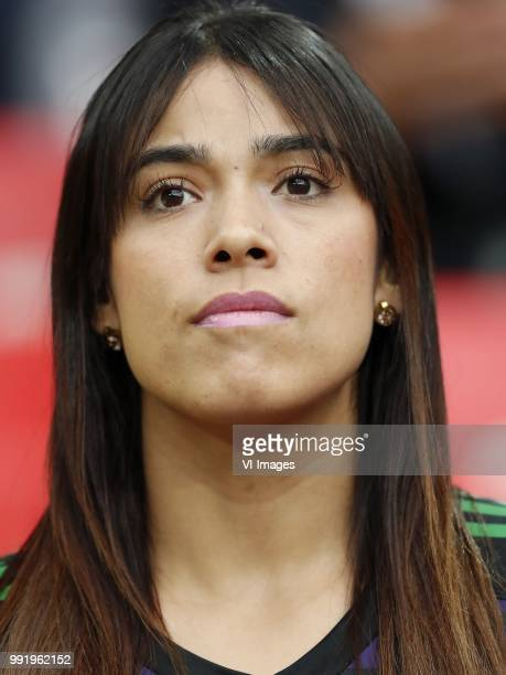 fan of Colombia wife of Colombia goalkeeper Camilo Vargas during the 2018 FIFA World Cup Russia round of 16 match between Columbia and England at the...