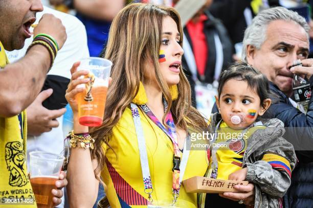 A fan of Colombia with a baby during the 2018 FIFA World Cup Russia Round of 16 match between Colombia and England at Spartak Stadium on July 3 2018...