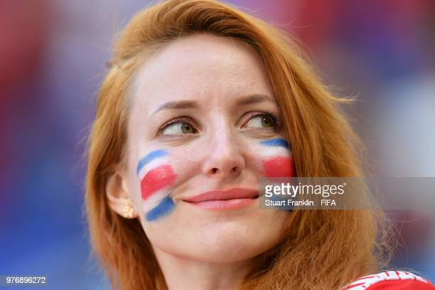 A fan of Costa Rica enjoys the pre match atmosphere during the 2018 FIFA World Cup Russia group E match between Costa Rica and Serbia at Samara Arena...