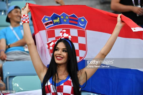 A fan of Croatia is seen before the 2018 FIFA World Cup Russia Quarter Final match between Russia and Croatia at Fisht Stadium on July 7 2018 in...