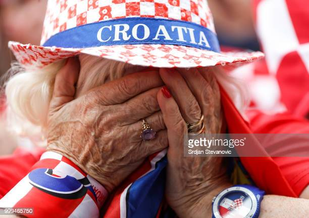 Fan of Croatia national football team reacts during the Final match on July 15 2018 in Zagreb This is the first time Croatia has reached the final of...