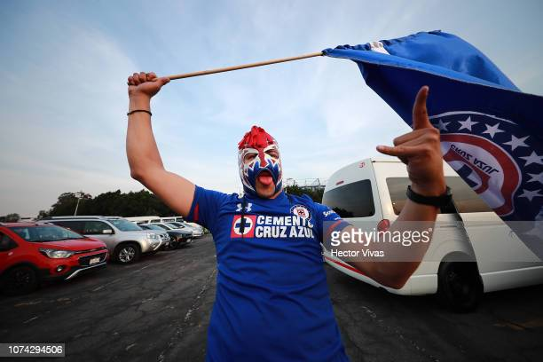 Fan of Cruz Azul gestures prior the final second leg match between Cruz Azul and America as part of the Torneo Apertura 2018 Liga MX at Azteca...
