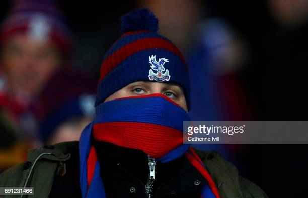 A fan of Crystal Palace wraps up warm in a hat and scarf during the Premier League match between Crystal Palace and Watford at Selhurst Park on...