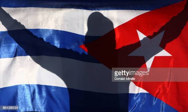 A fan of Cuba sheers for his team against Japan during the 2009 World Baseball Classic Round 2 Pool 1 match on March 15 2009 at Petco Park in San...