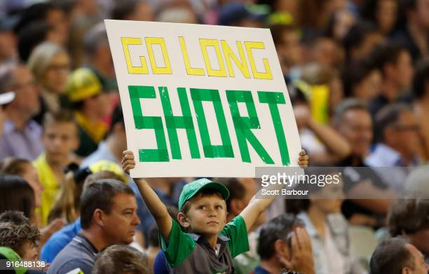 A fan of D'Arcy Short of Australia in the crowd shows his support during game two of the International Twenty20 series between Australia and England...