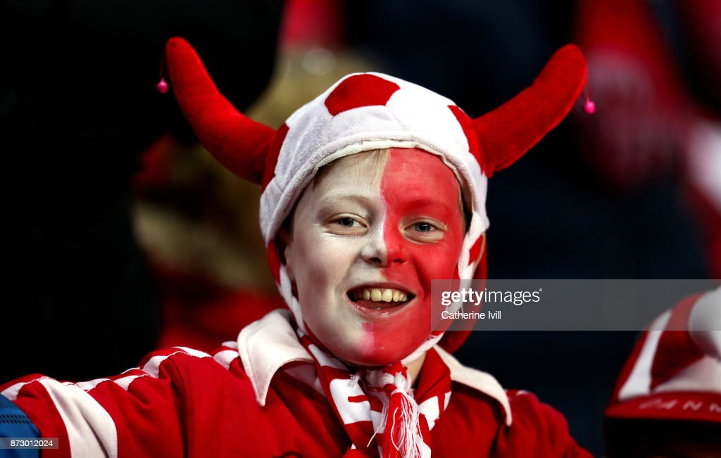 A fan of Denmark during the FIFA 2018 World Cup Qualifier Play-Off: First Leg between Denmark and Republic of Ireland at Telia Parken on November 11, 2017 in Copenhagen, Denmark.
