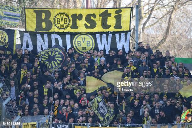 Fan of Dortmund during the Bundesliga match between Sport Club Freiburg and Borussia Dortmund at Schwarzwald-Stadion on February 25, 2017 in...
