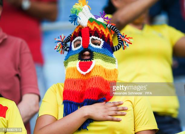 A fan of Ecuador signs the national anthem before the match against Hungary for the FIFA U17 World Cup Brazil 2019 on November 01 2019 in Goiania...