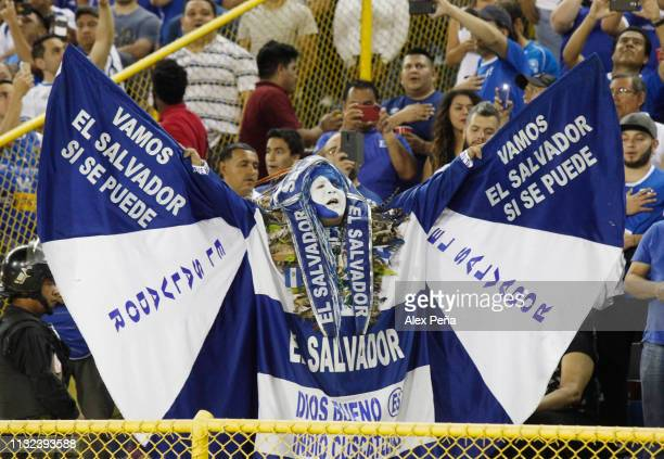 A fan of El Salvador cheers during a match between El Salvador and Jamiaca as part of the CONCACAF Gold Cup 2019 Qualifiers at Cuscatlan Stadium on...