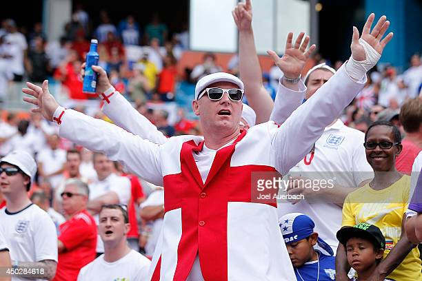 A fan of England cheers for the team as they warm up for their International friendly match against Honduras on June 7 2014 at SunLife Stadium in...