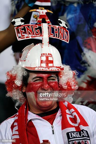 A fan of England wearing a Makarapa hat