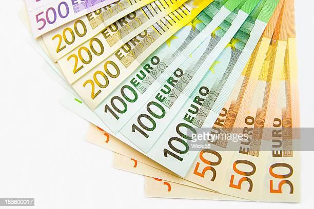 fan di euro - banconote euro foto e immagini stock