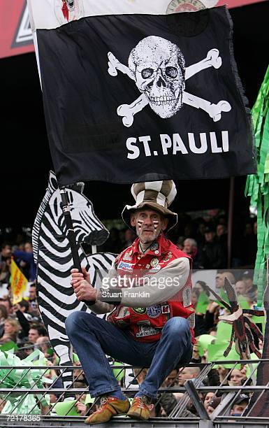 Fan of FC St.Pauli during the Third League match between FC St.Pauli and Hamburger SV II at the Millerntor stadium on October 15, 2006 in Hamburg,...