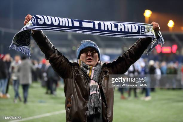Fan of Finland celebrates after Finland confirm qualification to Euro 2020 at the UEFA Euro 2020 Qualifier between Finland and Liechtenstein on...