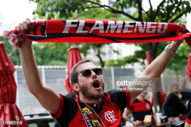 A fan of Flamengo celebrates his team win the Copa do Brasil after Gremio defeated Palmeiras the celebrations the day after Flamengo won the Copa...
